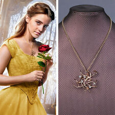 Girl Beauty And The Beast Bell Princess Rose-Tree Necklace Pendant with gift box