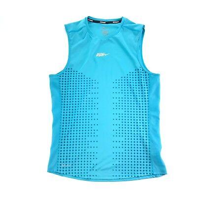 Adattabile Nike Dri Fit Running Donna Blu A Pois Maniche Ventilato Athletic Top S
