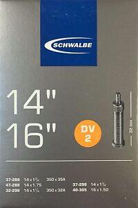 Schwalbe-Fahrradschlauch-DV-2-fuer-14-und-16-Zoll-32-44-288-305