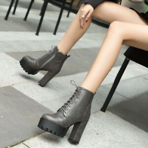 Women-Lace-up-Platform-Ankle-Boots-Punk-Block-High-Heel-Chunky-Shoe-Booties-Club