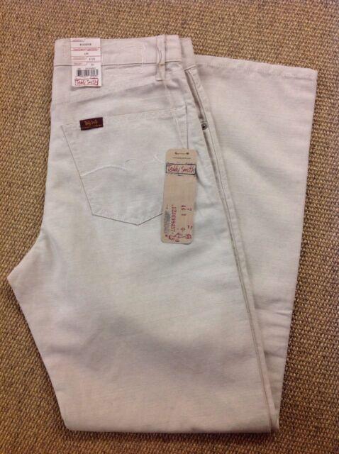 Men's TEDDY SMITH W32 L32 Booster, en lin beige Jeans. NEUF