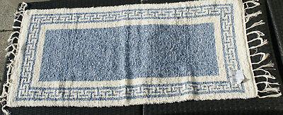 Qualifiziert Teppich Möbel & Wohnen Teppiche Badteppich Gewebt Mäander Natur/blau 65 X 80 Cm Teppich Waschbar
