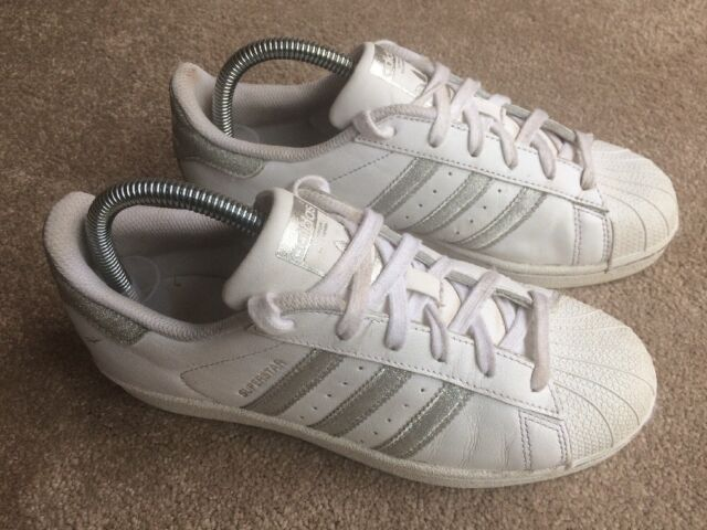huge selection of b5d4d 64640 ADIDAS SUPERSTAR Shell Toe Trainers White Leather Silver Glitter 3 StrIpes  UK 5