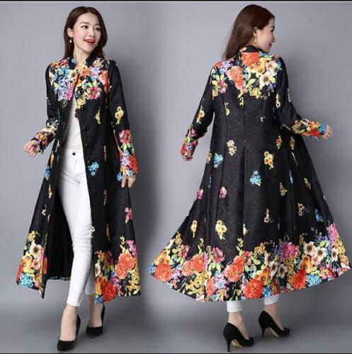 Floral Embroidered Trench Long Parka Coat Cardigan Jackets Ladies Ethnic A855@sp