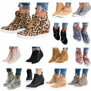Womens-Hidden-Wedge-Mid-Heel-Ankle-Boots-Trainers-High-Top-Sneakers-Shoes-Casual