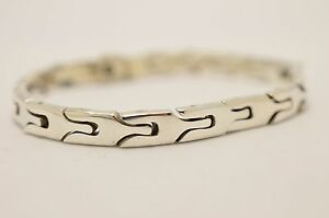 Taxco-Mexican-925-Sterling-Silver-Bracelet-37g-19-5cm-7-7-034