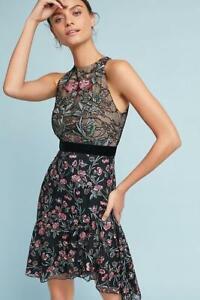 Anthropologie-Monique-Lhuillier-Embroidered-Lace-Designer-Black-Floral-Dress-4