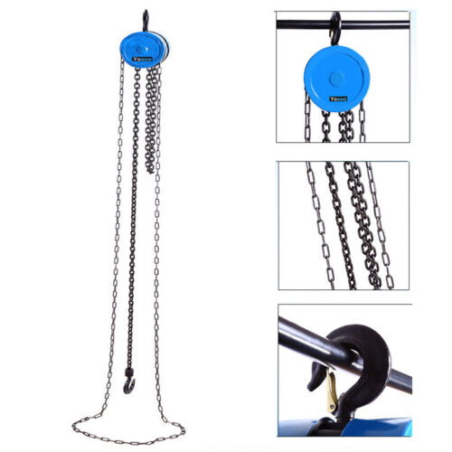 Heavy Duty 1 Ton Chain Hoist Load Lifting Block Tackle Engine Winch Pulley Tool