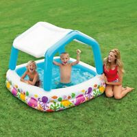 Inflatable Swimming Pool Kids W/shade Cover 62 X 62 X 48 74 Gallon Summer