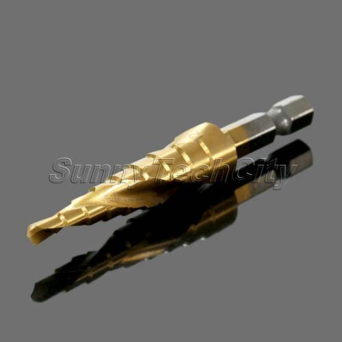 4-12mm HSS Step Cone Titanium Drill Bit Woodworking Hole Cutter Bits Rotary Kits