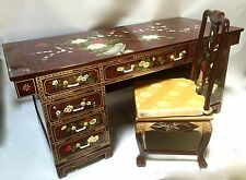 """Oriental furniture executive Desk Chinese 68"""" with Burgundy Lacquer"""