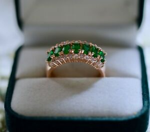 Vintage-Jewellery-Ring-With-Emerald-White-Sapphires-Antique-Deco-Jewelry-R1-2