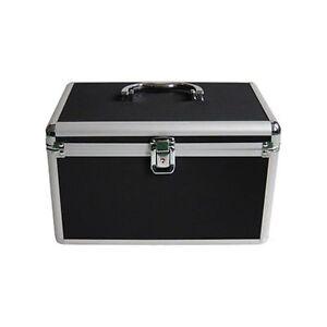 Media-Range-Black-Aluminium-DJ-Flight-Carry-Case-holding-200-Disks-Lock-Key