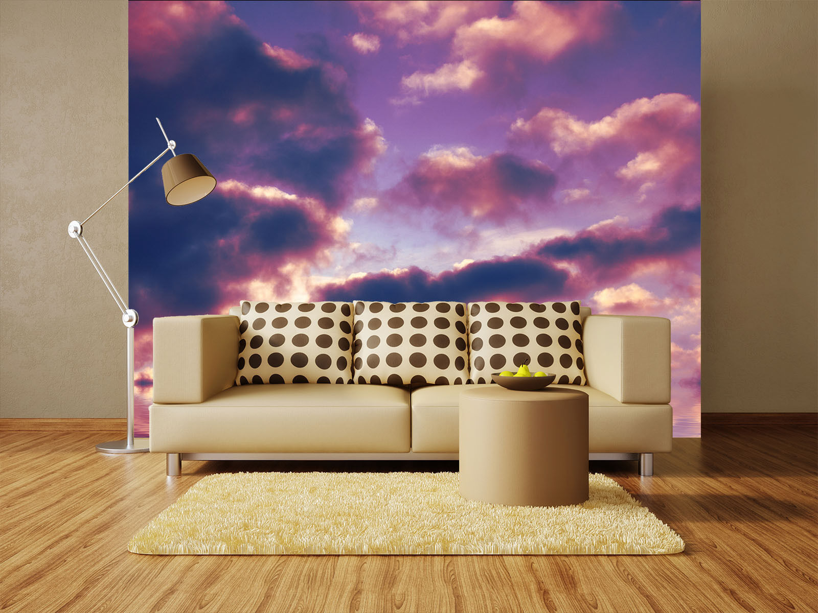 3D lila Clouds Paper Wall Print Wall Decal Wall Deco Indoor Murals