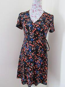 43315fd9eccff Ex Major Highstreet (H&M?) Black Orange Blue Floral Wrap Style Tea ...