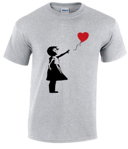BANKSY GIRL WITH HEART BALLOON T-SHIRT//Balloons//Graffiti//Gift//Xmas//Love//Top//Tee