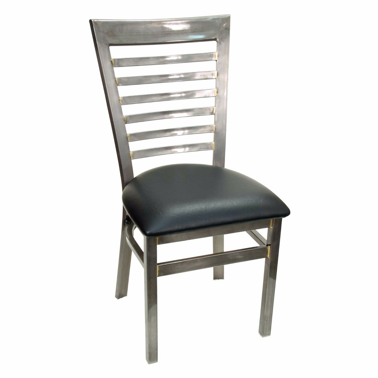 Details About New Gladiator Clear Coat Full Ladder Back Metal Restaurant Chair W Black Seat