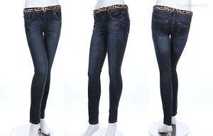 Leopard Print Belt Inclued Medium Washed Slim Skinny Stretch Denim Jeans Zip Fly