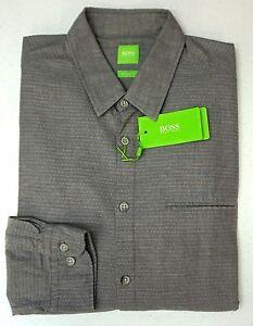 NWT-165-Hugo-Boss-Modern-Fit-Gray-Shirt-LS-Mens-L-XL-XXL-Bacchis-50320138-059