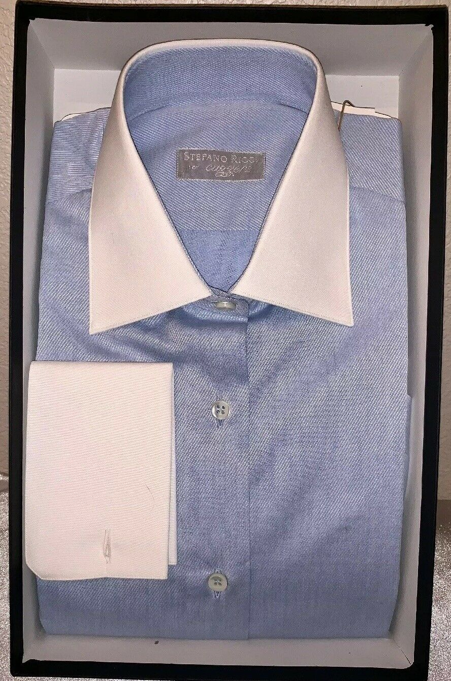 NEW STEFANO RICCI  damen's Office Shirt Sz S Blau Weiß Collar Weiß Cuffs NWOT