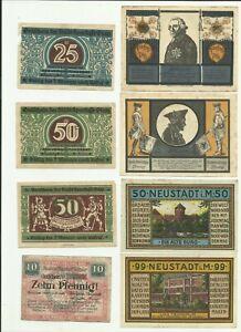 Notgeld-Glatz-striegau-meckl-wtzlar-lot-8-pcs-collection
