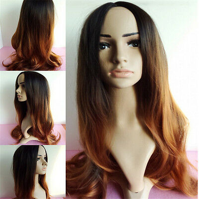 Women Front Ombre Gradiente Two Tone Long Cruly Wigs Cosplay Hair Heat Resistant