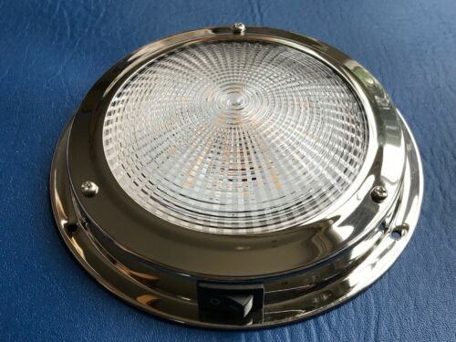 LED Dome light 12V Stainless Interior 107mm Cool Boat Yacht Caravan Horsebox