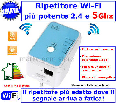 Amplificatore Segnale Wifi Repeater 5ghz Ripetitore Range Extender Wi Fi Rete