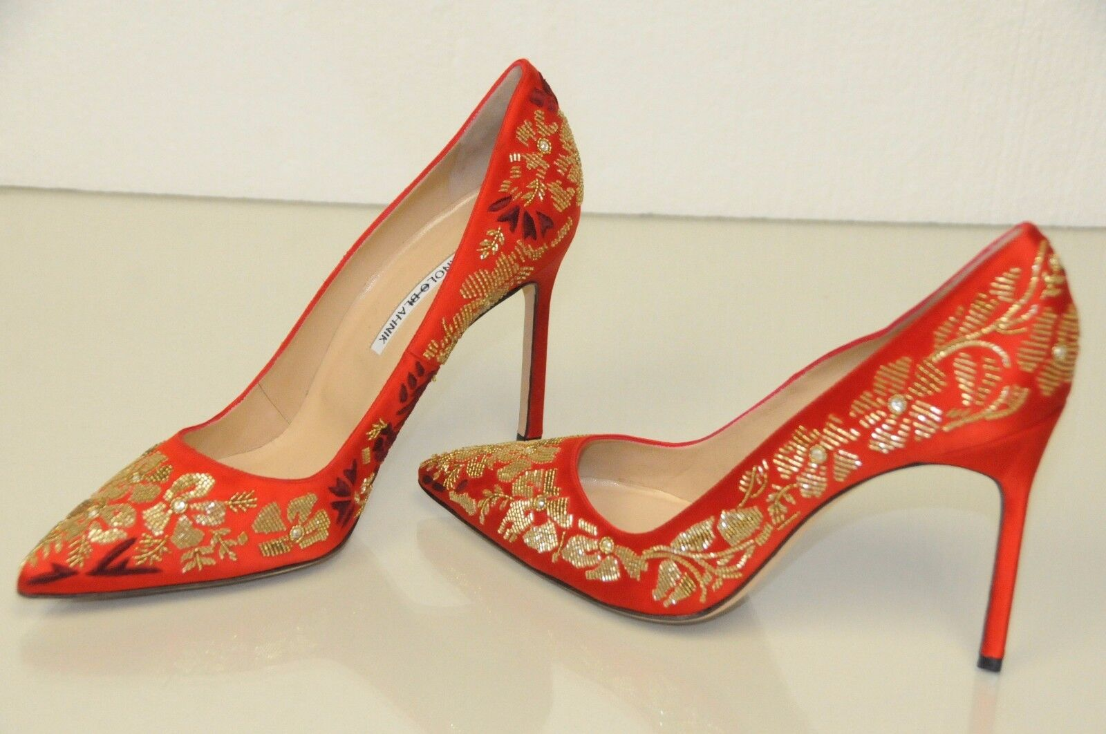 925 New Manolo Blahnik BB 105 Embroidery rot Satin schuhe Pumps 40 41.5 wedding