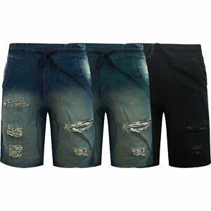 Para-hombre-Pantalones-cortos-de-mezclilla-con-aspecto-envejecido-rasgada-Deshilachado-Stretch-Jean