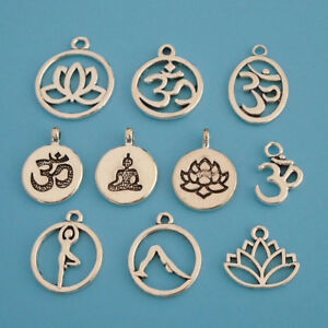 10-x-Tibetan-Silver-Tone-Ohm-Aum-Om-Symbol-Yoga-Charms-Pendants-Beads