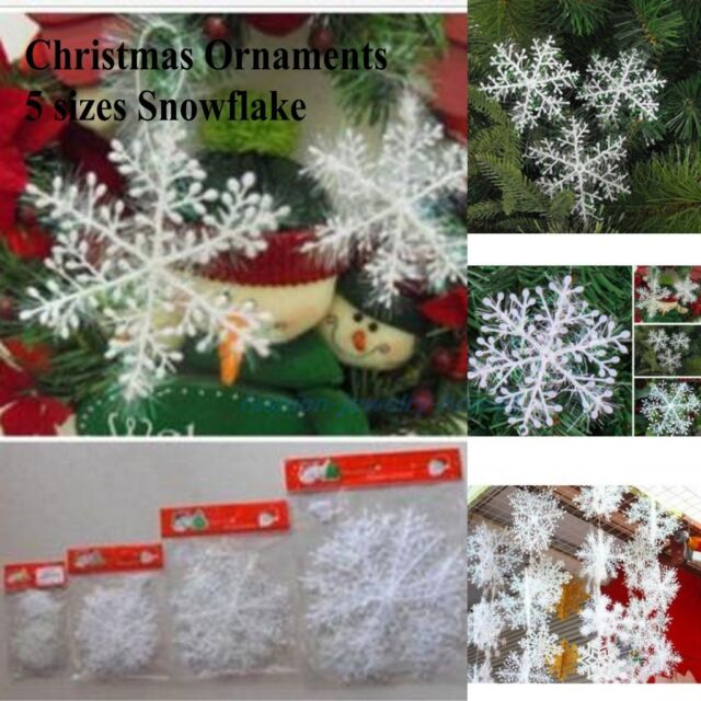 30pcs Christmas Holiday Party White Snowflake Charms Festival Ornaments Decor