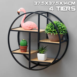 Retro-Industrial-Floating-Round-Wood-Metal-Wall-Shelf-Rack-Storage-Home-Decor