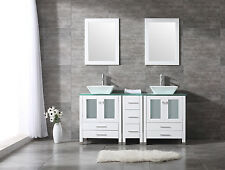 """White 60"""" Double Sink Basin Bathroom Vanity Cabinet Tempered Glass Top w/Mirror"""