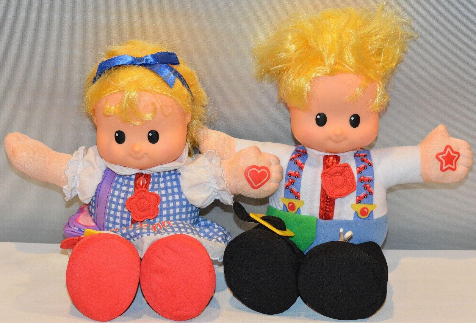 2 Little People Dolls Dolls Dolls - Sarah Lynn Learn to Dress Doll & Boy Yellow Hair 8c9522