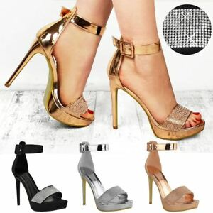 0a364886bc Image is loading Womens-Ladies-Sparkly-Diamante-Platforms-Stilettos-High- Heels-