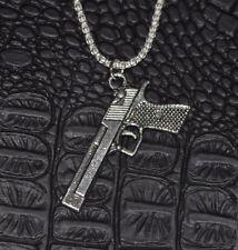 Firearm Pistol Handgun Gun Pendant & 925 Solid Sterling Silver Popcorn Chain
