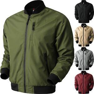 Mens Bomber Windbreaker Jacket Tech Lightweight Waterproof Hip Hop Casual Ebay