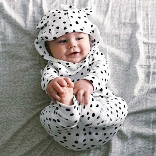 2PCS Newborn Baby Boy Girl Hooded Tops Shirt+Pants Legging Outfit Clothes Set CP