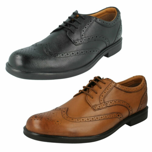 MENS CLARKS LEATHER PUNCHED BROGUE FORMAL WORK SMART LACE UP SHOES GABSON LIMIT