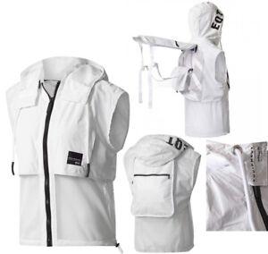 Adidas Originals EQT 2 in 1 Backpack Hooded Vest White Mesh Zip Up ... 5e72b2b6f848f