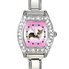 Pembroke Welsh Corgi CZ Womens Stainless Steel Italian Charms Wrist Watch BJ1079