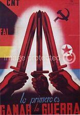 Lo Primero es Ganar La Guerra WW2 Spanish Civil War Vintage Poster 18x24