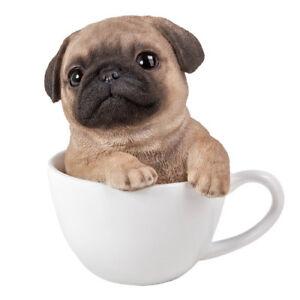 teacup pups figurine statue pug dog puppy in cup mug sculpture brown