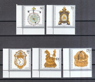 Brd 1992 Postfrisch Kostbare Alte Uhren Minr. 1631-1635 Eckrand Links Unten Reine WeißE