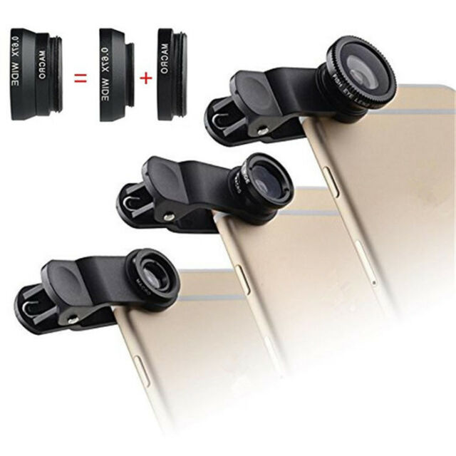 3in1 Fisheye + Wide Angle + Macro Lens Camera Kit for iPhone 6 Plus 5S 4 Samsung