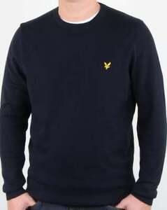 da7588d440b Lyle and Scott Merino Jumper in Dark Navy - crew neck knit sweater ...