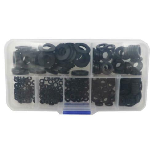 350X 7 Sizes Black Nylon Flat Washer Assortment Kit Set M2//M2.5//M3//M4//M5//M6//M8