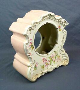 """Antique 19th C Porcelain Floral Painted Mantle Clock Case 4.75"""" Dia Movement"""