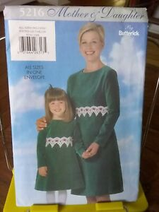 Oop-Butterick-Mother-Daughter-5216-a-line-fitted-bodice-all-sizes-NEW